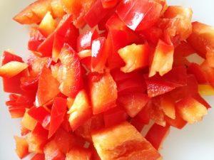 Sliced red capsicum