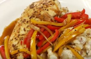 Chicken with bell peppers